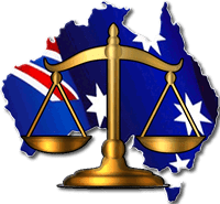 Australia flag and scales of justice