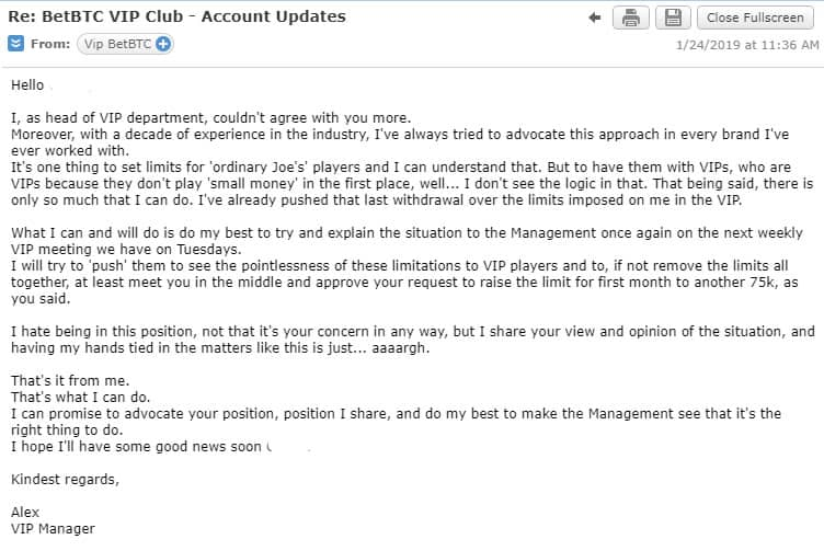 Vip Departments Reply