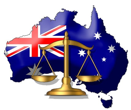 Aussie Flag in front of legal scale