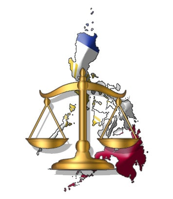 Philippine Flag in front of legal scale