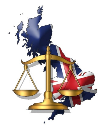UK Flag in front of legal scale