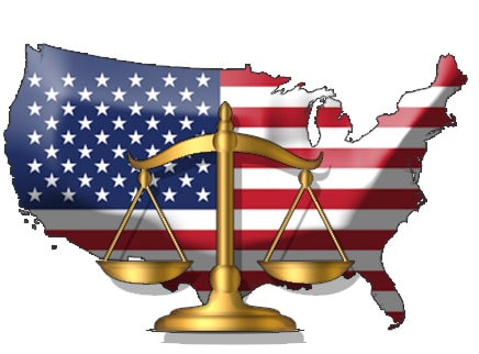 USA Flag in front of legal scale