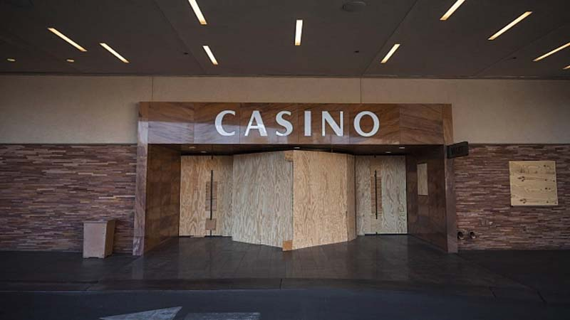 Casino with shuttered doors