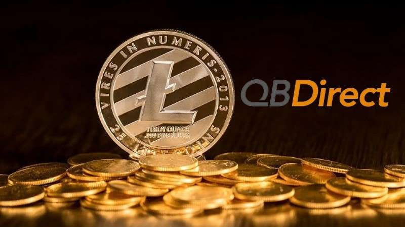 litecoin token on pile of gold coins with qb direct logo